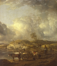 Dune landscape with horse and wagon and horsmen