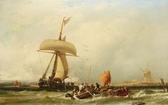 Dutch Coastal View with Sailing Ship and Boats