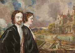 Edward Heneage Dering (1826-1892) and Marmion Edward Ferrers (1813-1884), in the grounds of a Victorian country house