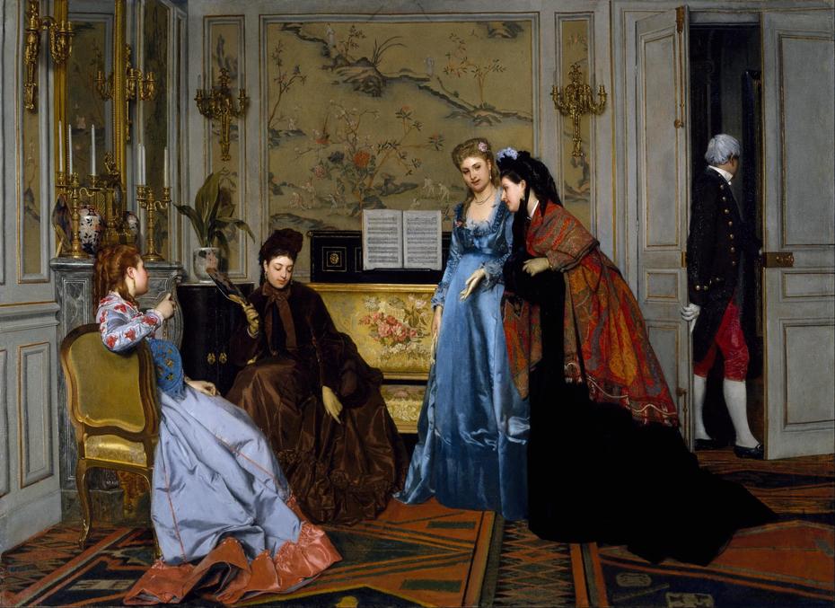 Elegant Figures in a Salon