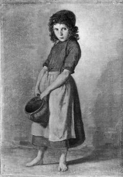 En lille pige med en krukke