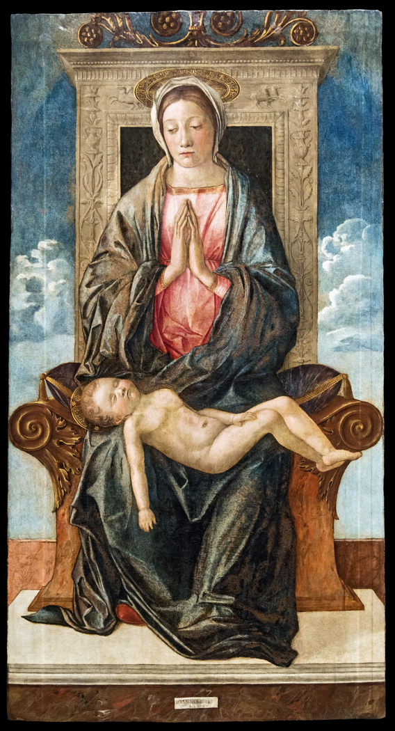 Enthroned Madonna Adoring the Sleeping Christ Child