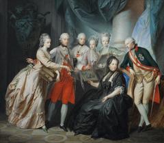 Erzherzogin Marie Christine und Herzog Albert von Sachsen Teschen präsentieren der Familie Bilder von den Verwandten in Italien