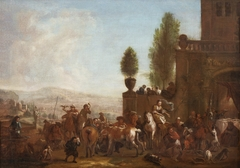 Exterior with people and horses