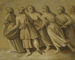 Female Personification of Planets at Night: Sun, Venus, Mercury, Mars, Saturn and Jupiter