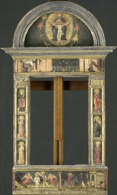 Frame depicting the Annunciation, Baptism of Christ, Entry into Jerusalem, Saints Cecilia and Catherine of Alexandria, Trinity (Gnadenstuhl, Mercy Seat), and four Music-making Angels