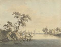 Gezicht op het dorp Elst aan de Maas