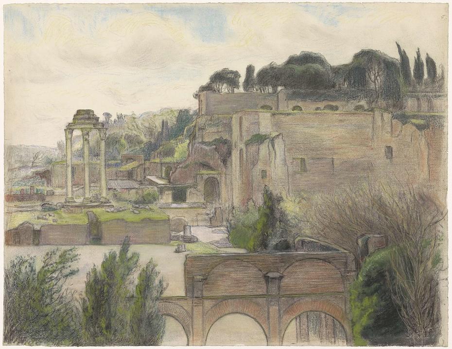 Gezicht op het Forum Romanum en de Palatijn, gezien vanaf de Via Capitolina