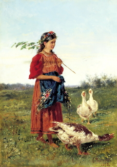 Girl with goose in the field