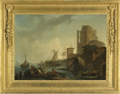 Harbour Scene with Resting Fishermen (A Calm)