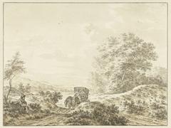 Heuvelachtig landschap met reiswagen