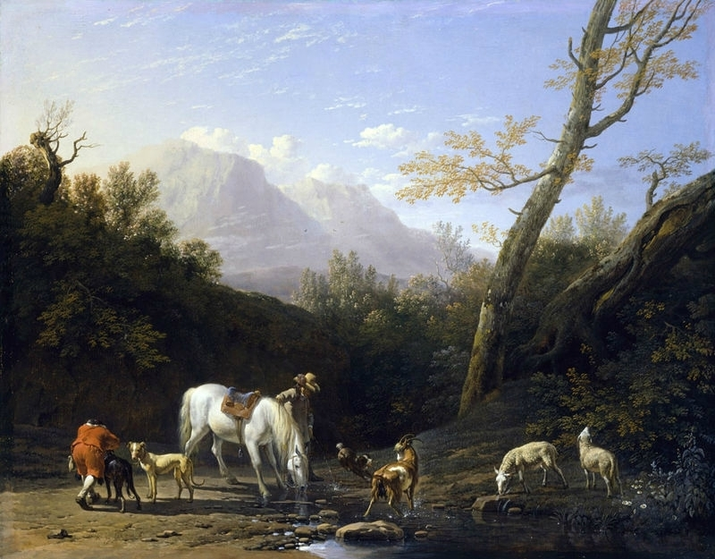 Horseman and His Horse at a River