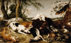 Hounds Bringing down a Boar