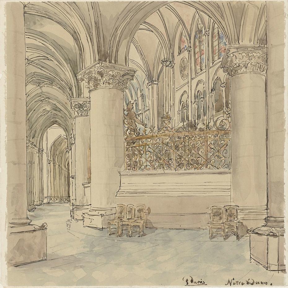 Interieur van de Notre-Dame te Parijs