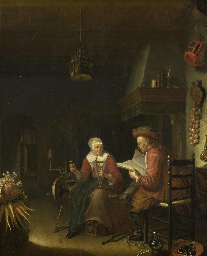 Interior with a man reading and a woman spinning yarn