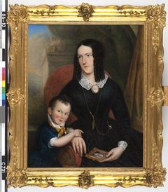 Johanna Marina Clasina Bern (1815-1871). Echtgenote van Jan van der Muelen en haar zoontje Frans Nicolaas
