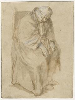 Joost van den Vondel, slapend in een stoel