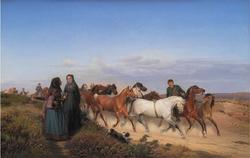 Jyske bønder på vej hjem fra marked med deres heste
