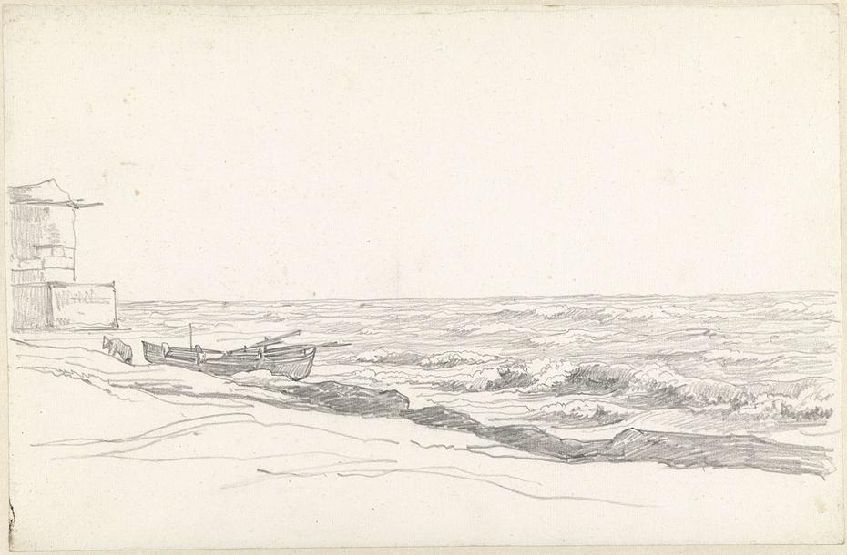 Kustgezicht met bolwerk en op het strand getrokken boot
