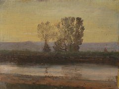 Landscape at Twilight with River and Cluster of Trees