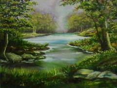 landscape in oil medium