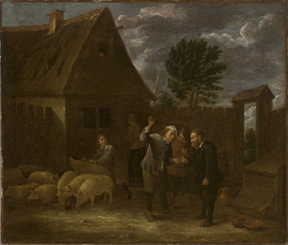 Landscape with a seller of pigs