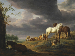 Landscape with horses and other livestock
