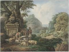 Landschap met herders bij een waterplaats