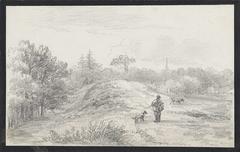Landschap met jager en honden, in heuvelachtig terrein