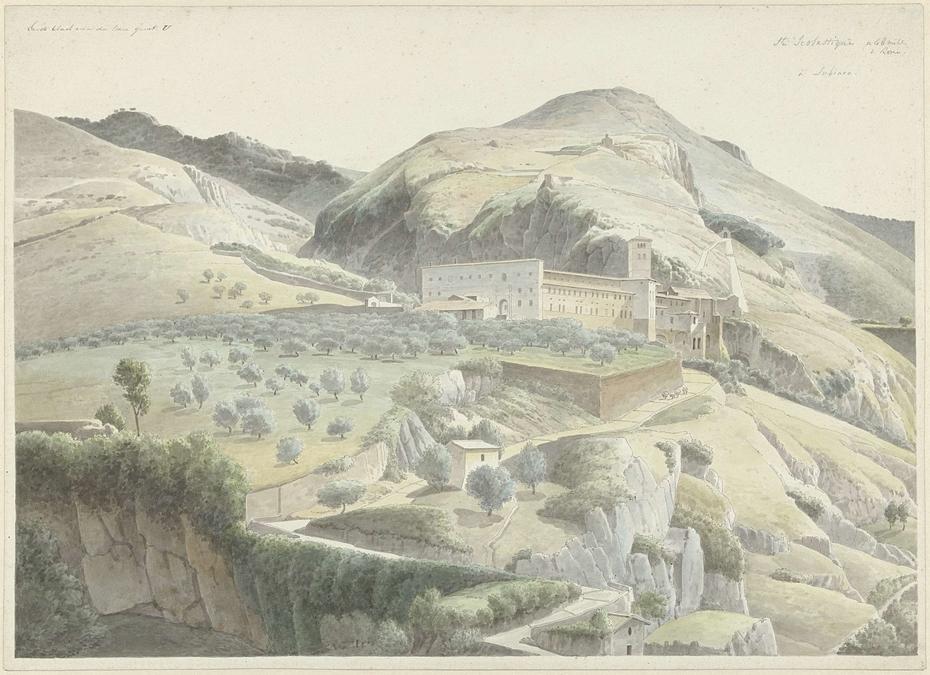 Landschap met klooster bij Subiaco