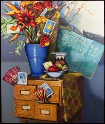 """""""Lotería"""" by Lydia Martin© oil on Belgian linen (40""""x30"""")/ Lotería series"""