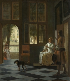 Man Handing a Letter to a Woman in the Entrance Hall of a House