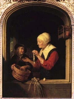 Market Woman with a Boy and Herring in a Window