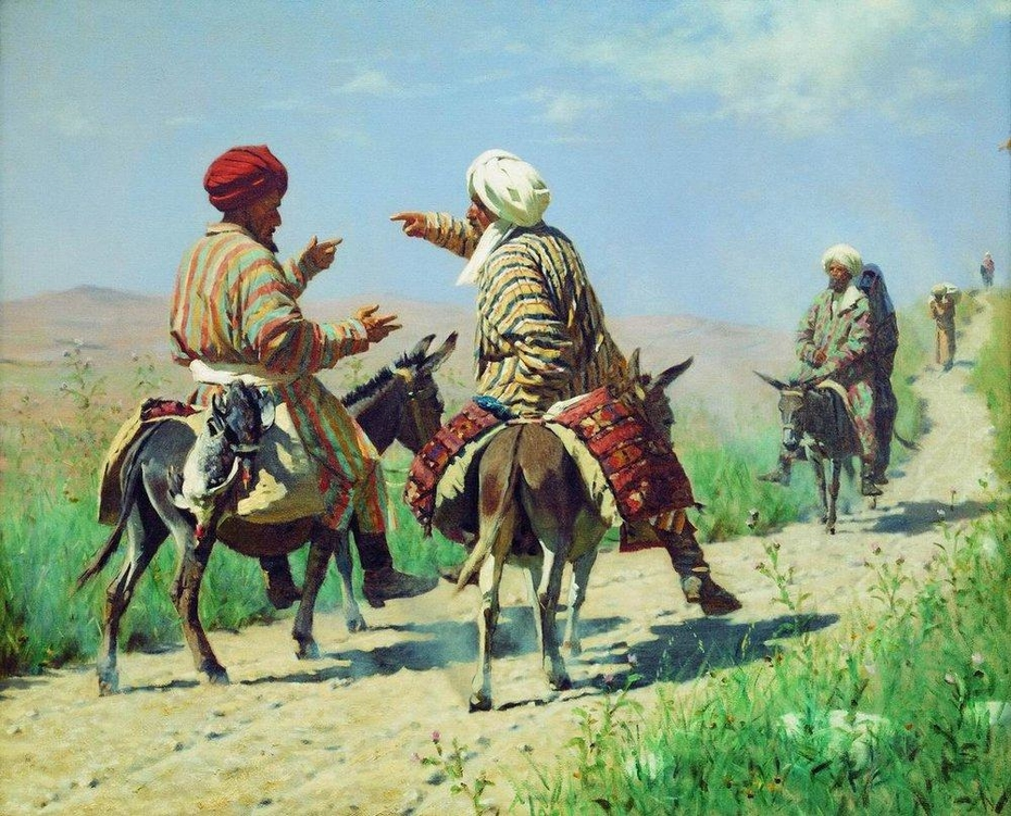 Mullah Rahim and Mullah Kerim on his way to the bazaar are quarreling