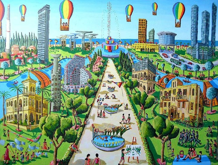 naive painting of tel aviv