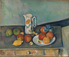 Nature morte, pot à lait et fruits sur une table (Still life with milk pot and fruits on a table)
