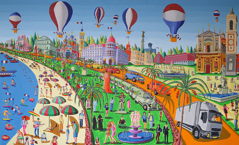 Nice city france bastille day 2016 after terror attack naive art paintings