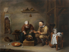 Old couple in a rustic interior