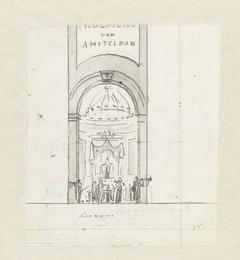 Ontwerp voor decoratie op het gebouw Felix Meritis met Huldiging van Amsterdam