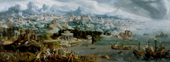 Panorama with the Abduction of Helen Amidst the Wonders of the Ancient World