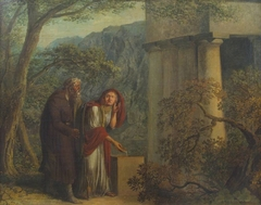 Philemon and Baucis in front of the temple