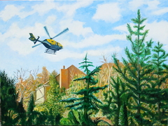 'Police helicopter over Esher', (2011), oil on linen, 90 x 120 cm.