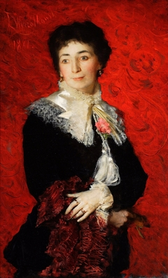 Portrait of a lady with a lace jabot.