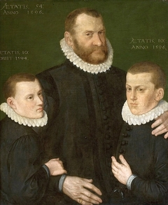 Portrait of a man with his two sons.