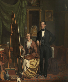 Portrait of the paintress Elisabeth Kiers-Haanen with her husband, Petrus Kiers