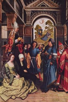 Predigt des heiligen Ambrosius Außenseite (in Resten): Zwei stehende heilige Bischöfe