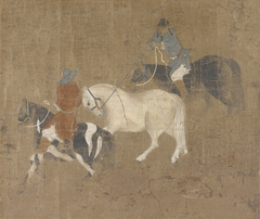 Riders Leading a White Horse