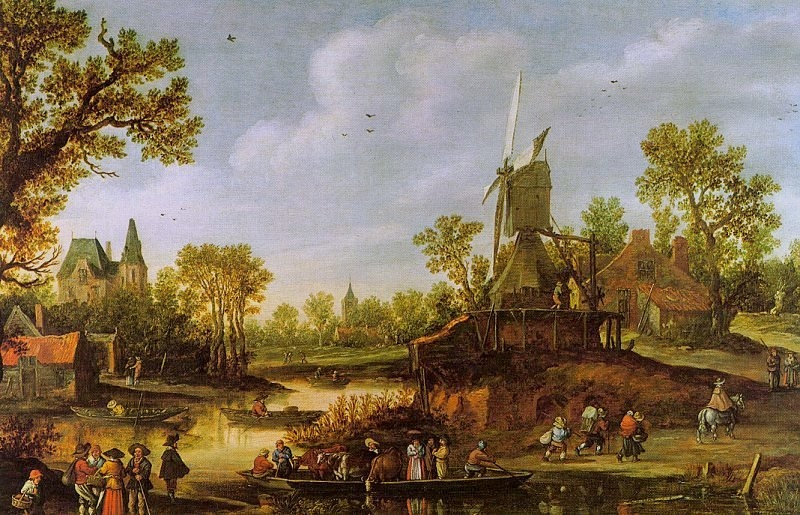 River Landscape with a Ferry