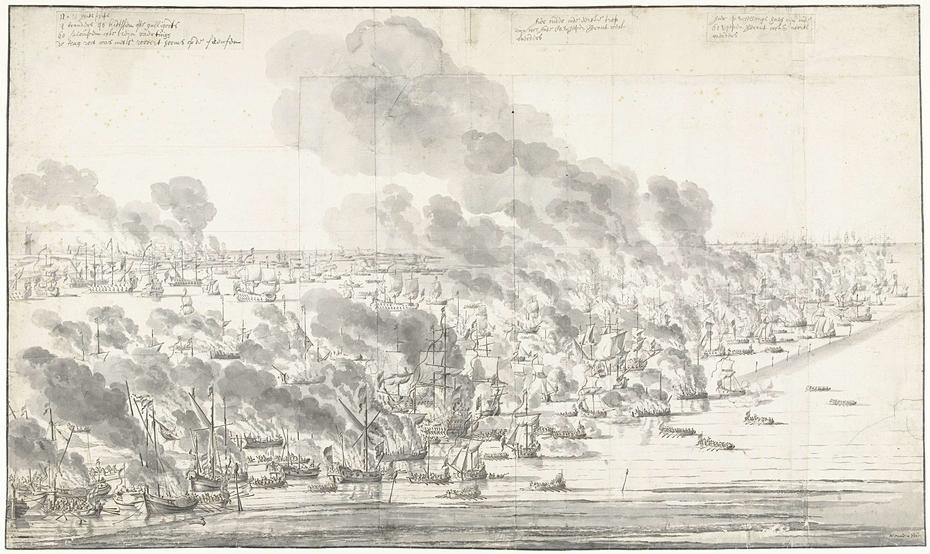 Robert Holmes Setting the Dutch Fleet on Fire at Terschelling