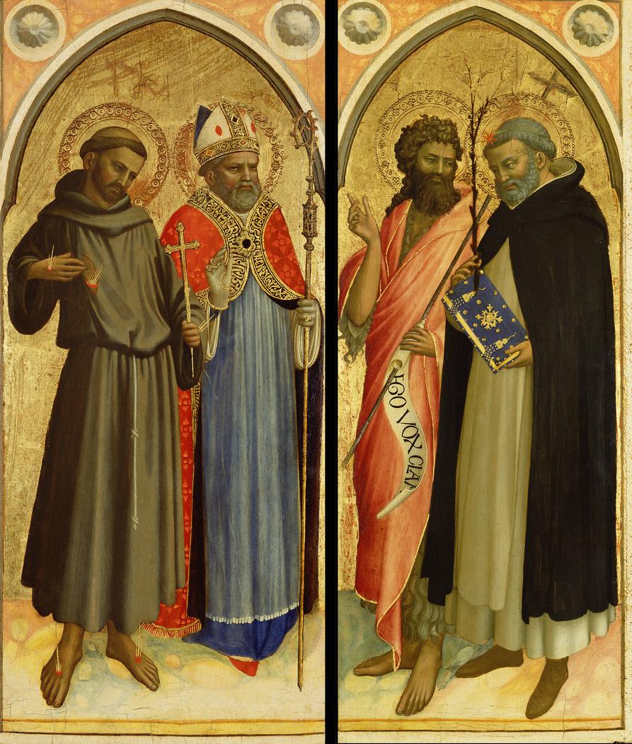 Saint Francis and a Bishop Saint, Saint John the Baptist and Saint Dominic